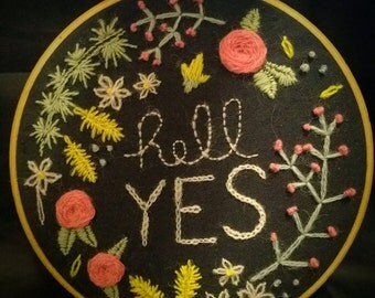 Hell Yes floral hand embroidery
