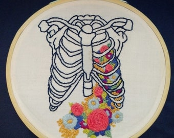 Hand Embroidered Floral Rib Cage