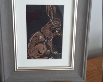 brass hare painting