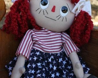 Rag doll, cloth doll, handmade doll, raggedy ann doll, americana doll, decorative