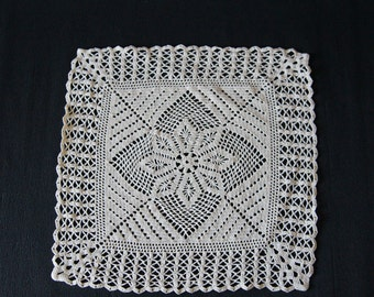 Perfect Vintage Lace Cotton Tablecloth Creamy Crocheted Linen Placemat Doily