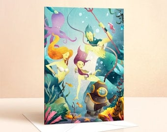 Deep Sea Diver Card | Birthday Card | Kids Birthday | Children's Card | Greeting Cards | Nursery Art | Girls Birthday Card | Mermaid | Ocean