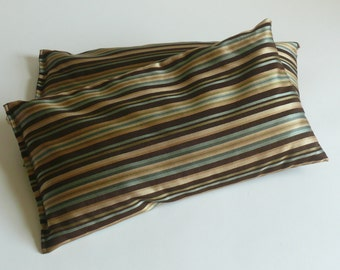 Bolster, yoga support, meditation cushion, pillow. Mixed fiber fabrics. Organic buckwheat hull fill.