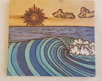Woodburn Reclaimed Pine Wood Acrylic Surf Wave Art Home Decor