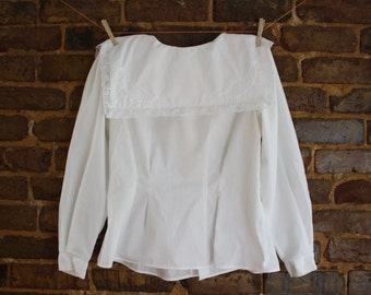 80's Square Collar Blouse w/ Button-Down Back and Shoulder Pads white