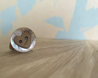 Shell and wood button earrings