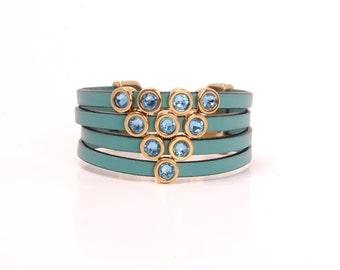 Italian leather and swarvski crystals bracelet