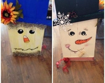 Snowman and scarecrow wood sign