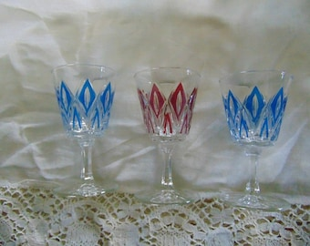 Vintage~Port or Schnaps Glasses~Hand Painted~Made in France~