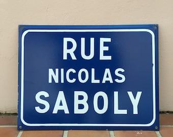 Old French Street Enameled Sign Plaque - vintage NICOLAS SABOLY