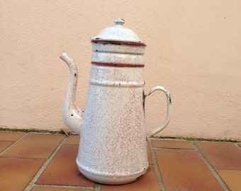 Vintage marbled French Enamelware red white Enamel Coffee Pot