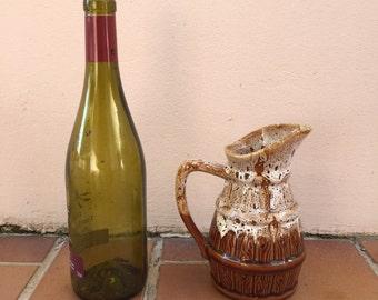 VINTAGE RUSTIC FRENCH country wine cider jug pitcher porcelain 1/4 litter