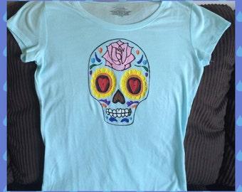 Skull Tshirt Hand Painted