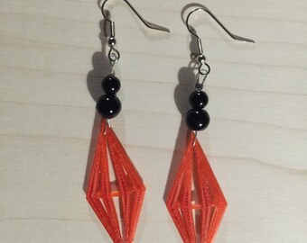3-d printed red diamond earrings. Sterling silver.
