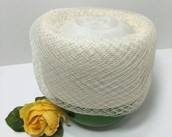 Vintage Parkridge Ivory Mesh netting accent Pillbox Hat