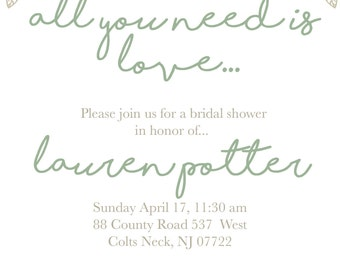 All you need is love: Set of 10 invitations