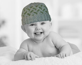 Hand Knit Gray & Olive Patterned Baby Boy's Hat - 0 to 3 Months
