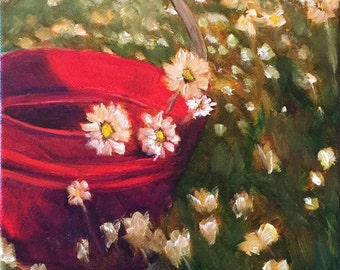 Summer Bucket of Daisies Original Oil Painting