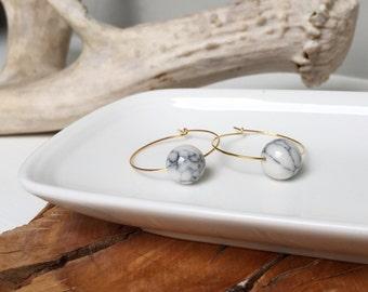 Magnesite Gold Hoop Earrings