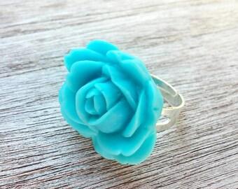 Resin Ring // Flower Ring //  Blue Flower Ring // Cabochon Ring // Adjustable Ring // Rose Ring // Blue Rose Ring // Blue Rose