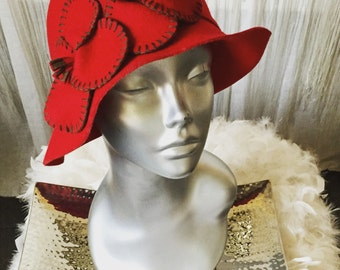 Red Felt Cloche Hat With Flower Detail