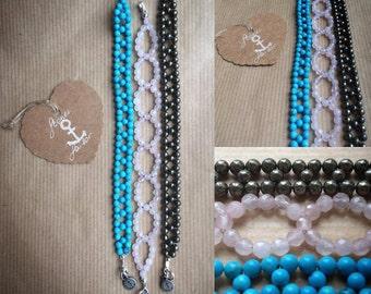 Gemstone bracelet braided