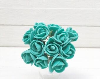 Bunch of 12 Flowers, Miniature Flowers, Foam Flowers, Foam Roses, Miniature Roses, Eva Flowers, Small Foam Flowers, Emerald Foam.