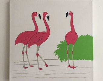 Flamingos Wall Art Acrylic Painting on Canvas Home Decor