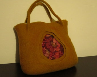Bag women's,  Felted  bag, Mustard color,Art  Gift, Womens fashion, Tote bag, handbag, shoulder bag,