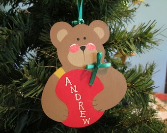 bear holding bulb ornament