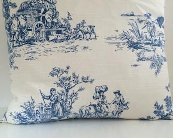 Classic blue Toile de Jouy Cushion cover.
