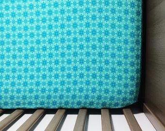 Aqua Baby Bedding-Aqua Crib Sheet-Fitted Crib Sheet-Aqua Nursery Bedding