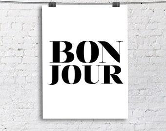 BON JOUR French Sketch Art Print, Living Room Fine Art Print, Vertical Modern Art