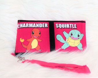 red starter pokemon wristlet wallet with detachable strap