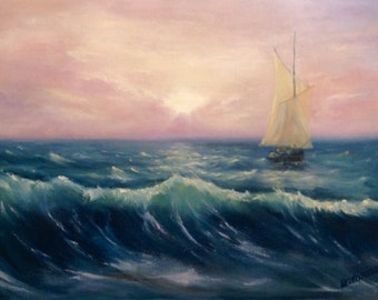 Seascape Painting Original Oil Painting On Canvas Wall Art Canvas Impressionism Sailing Painting Sailing Boat Ocean Painting Custom Oil Art