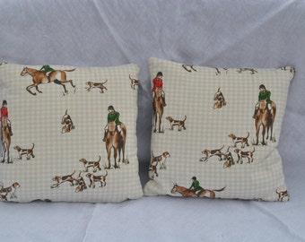 "Horse and hound cushion 14""x14"""
