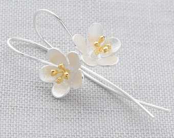 Handmade, Brushed Sterling Silver 925 and 18k Gold Plate Flower Drop Earrings