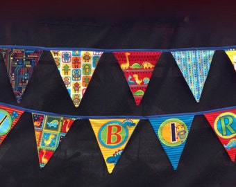 Happy Birthday Fabric Bunting, Bright Colours with Robots & Dinosaurs, Reusable Party Flags Banner Garland Pennant Photo Prop