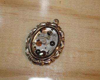 Small Steampunk Cameo Pendant