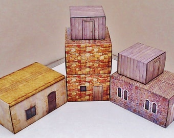 Terrain Buildings for Dungeons and Dragons Tabletop Towns 6 strong reusable houses Tabletop Games