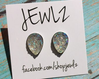 10x14MM Iridescent Teardrop Earrings in Gold or Silver