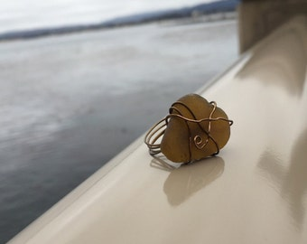 Brown Sea Glass Ring