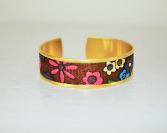 Brown fabric Cuff Bracelet flower