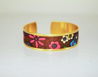 Brown fabric Cuff Bracelet flower