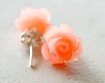 Coral Rose Earrings, Simple Flower Earrings, Dark Peach Flower Stud Earrings Coral Colored Jewelry Tropical Jewelry Coral Earrings The Rosie