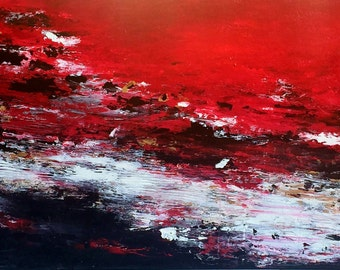 ABSTRACT landscape - 80x180cm oversize red black