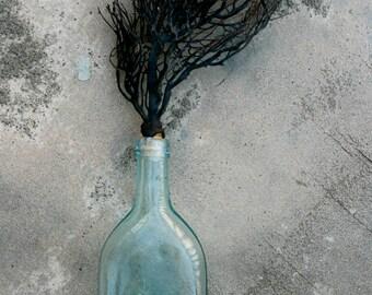 Sea Fan Coral Vintage Glass Bottle (size large, aqua) ,Sea Fan, Beach Decor, Coastal Decor, Nautical Decor, holiday Beach Wedding Decor