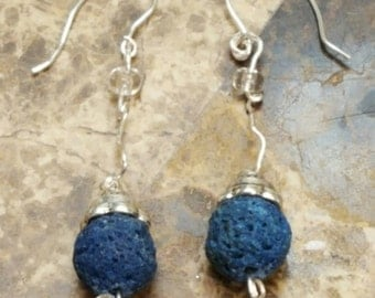 """Hand-made """"blueberry"""" and wire earrings"""
