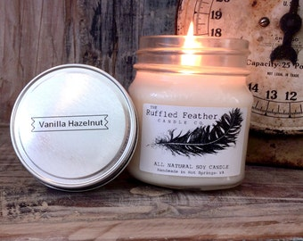 Vanilla Hazelnut Soy Candle, All Natural Soy Candle, 8oz, The Coffee House @ The Ruffled Feather Candle Co.