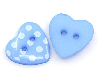 20 Blue Polka Dot Heart Acrylic Buttons 15mm Plastic 4 Hole for Scrapbooking, Sewing, Crafts - 51L